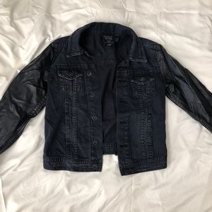 H&M black denim and leather jacket